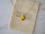 Porcelain and Gold Yellow Teardrop Necklace