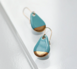 Teardrop Turquoise Porcelain and Gold Earrings - Niamh.Co