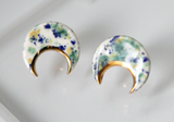Porcelain & Gold Speckled Crescent Studs - Niamh.Co