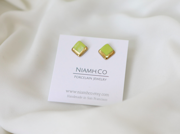 Gold and Porcelain Chartreuse Square Studs - Niamh.Co