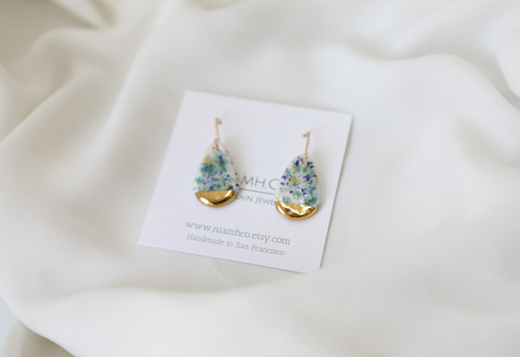 Speckled Porcelain and Gold Teardrop Earrings