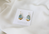 Speckled Porcelain and Gold Teardrop Earrings - Niamh.Co