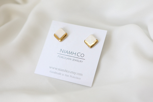 Gold and Porcelain White Square Studs - Niamh.Co