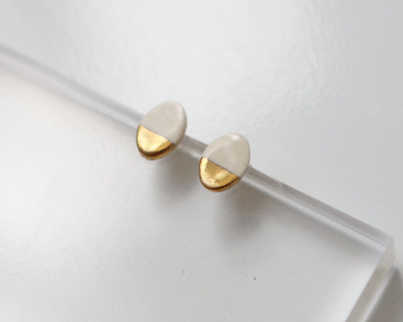 Gold and Porcelain White Oval Studs - Niamh.Co