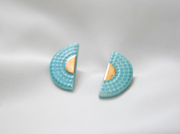 Art Deco Porcelain and Gold Turquoise Studs - Niamh.Co