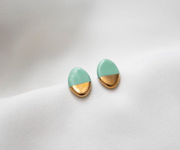 Gold and Porcelain Mint Green Oval Studs - Niamh.Co