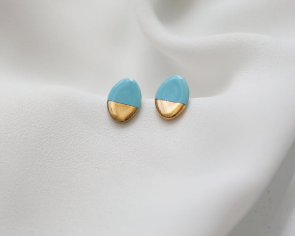Gold and Porcelain Turquoise Oval Studs - Niamh.Co
