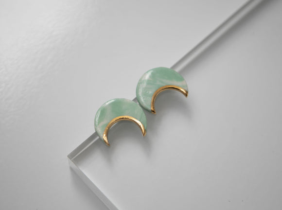 Gold and Porcelain Crescent Green Marbled Studs
