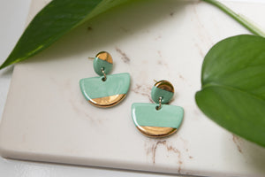 Porcelain and Gold Mint Drop Earrings - Niamh.Co