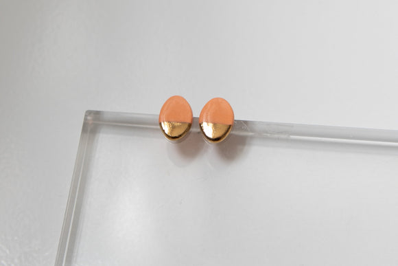 Gold and Porcelain Peach Oval Studs - Niamh.Co
