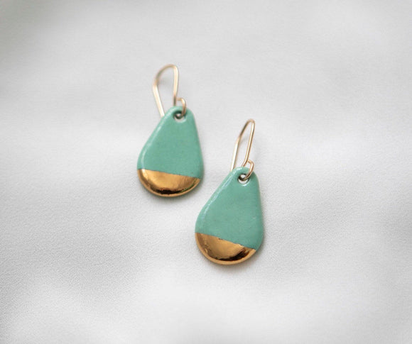 Porcelain Teardrop Mint Green and Gold Earrings - Niamh.Co