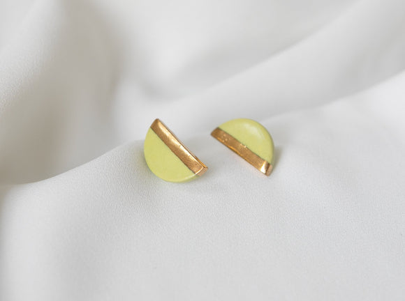 Chartreuse and Gold Porcelain Semicircle Studs - Niamh.Co