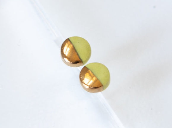 Gold and Porcelain Chartreuse Mini Circle Studs