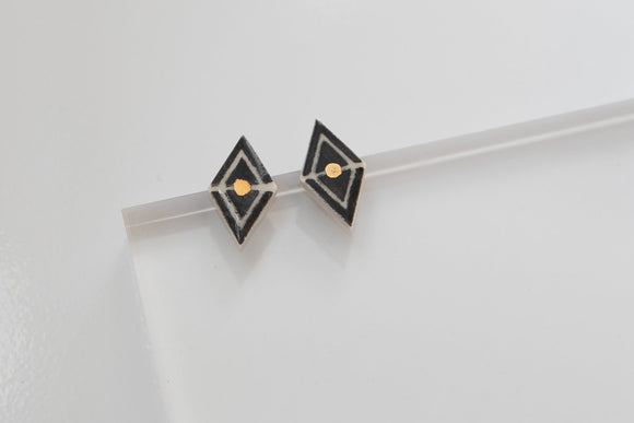 Gold and Porcelain Geometric Studs - Niamh.Co