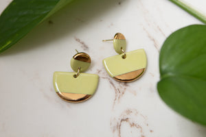 Porcelain and Gold Drop Chartreuse Earrings - Niamh.Co