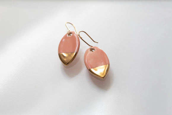 Porcelain and Gold Pink Drop Earrings - Niamh.Co