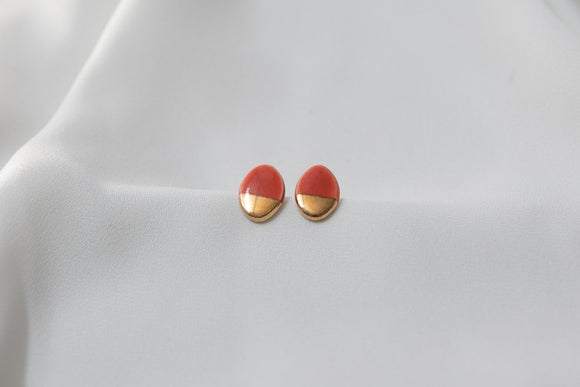 Gold and Porcelain Red Oval Studs