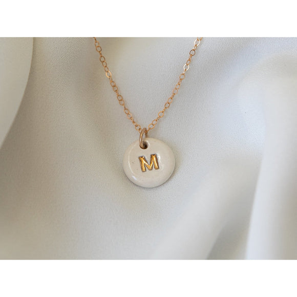 Porcelain and Gold Initial Necklace