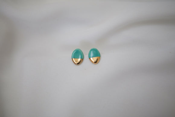 Gold and Porcelain Green Oval Studs - Niamh.Co