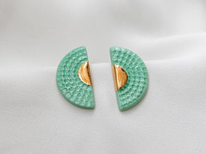 Art Deco Porcelain and Gold Mint Green Studs - Niamh.Co