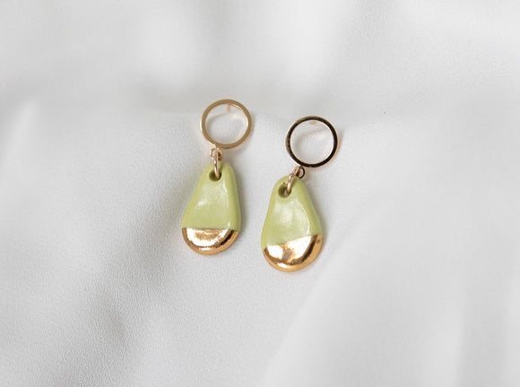 Gold and Porcelain Chartreuse Teardrop Earrings