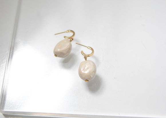 Porcelain Pearl Hoop Earrings - Niamh.Co
