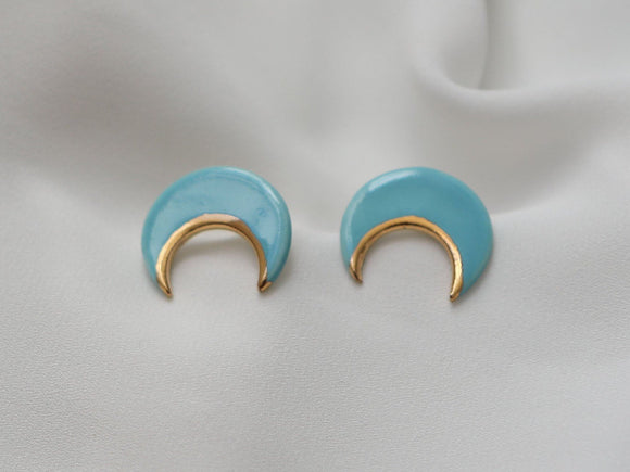 Porcelain and Gold Turquoise Crescent Studs - Niamh.Co
