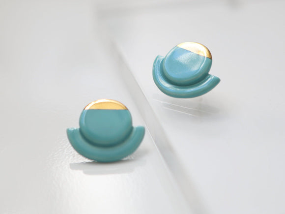 Turquoise and Gold Porcelain Statement Studs