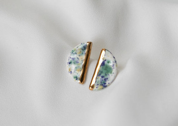 Gold and Porcelain Speckled Semicircle Studs