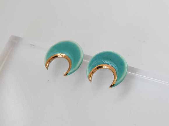Gold and Porcelain Crescent Sea Green Studs - Niamh.Co