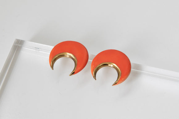 Gold and Porcelain Red Crescent Studs - Niamh.Co