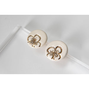 Gold and Porcelain White Floral Studs - Niamh.Co