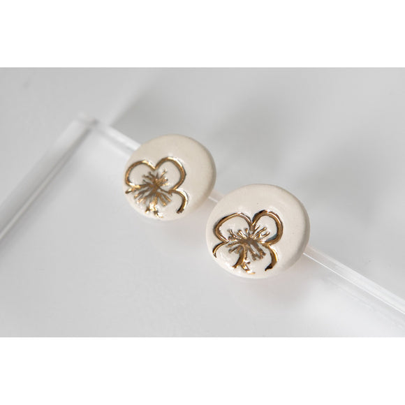 Gold and Porcelain White Floral Studs