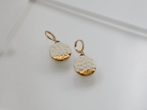 Gold and Porcelain Textured Drop Earrings - Niamh.Co