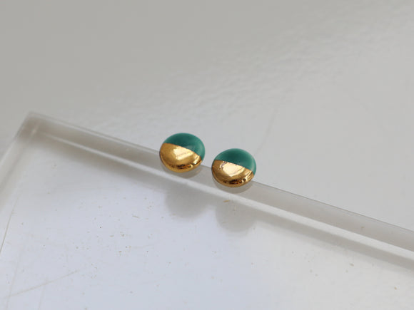Gold and Porcelain Dark Turquoise Mini Circle Studs - Niamh.Co