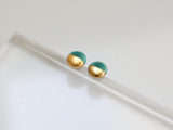 Gold and Porcelain Dark Turquoise Mini Circle Studs
