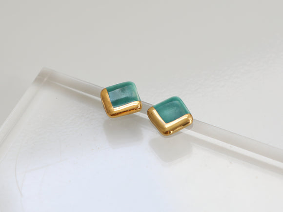Gold and Porcelain Dark Turquoise Square Studs - Niamh.Co