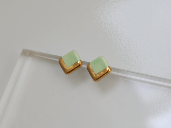 Gold and Porcelain Light Mint Square Studs - Niamh.Co