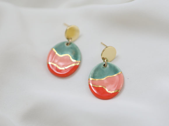 Porcelain Multicolor Drop Earrings with Gold Detail