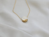 Porcelain and Gold White Circular Necklace - Niamh.Co