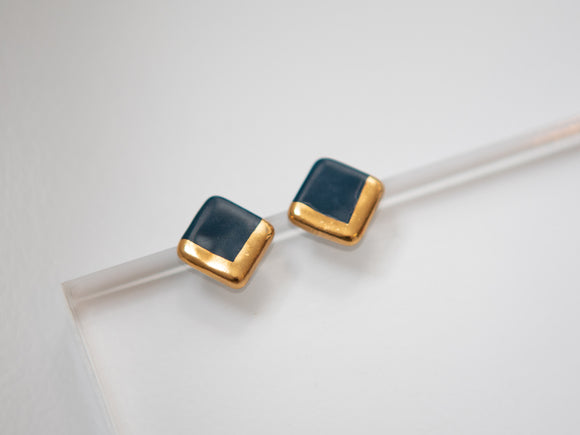 Porcelain and Gold Navy Square Studs