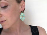 Porcelain and Gold Light Turquoise Aztec Drop Earrings