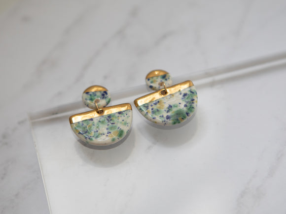 Porcelain and Gold Chandelier Speckled Drop Earrings