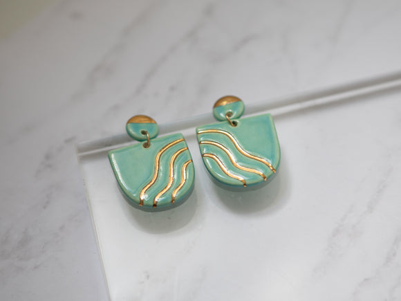 Porcelain and Gold Light Turquoise Drop Wave Earrings
