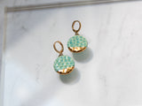 Gold and Porcelain Textured Drop Earrings