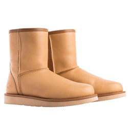 Keuzi leather possum fur boot in colour tan