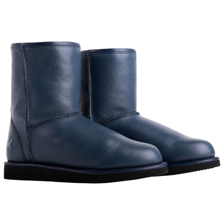 Keuzi leather boot with possum fur in colour blue