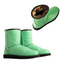 Possum Fur Leather Hand Crafted Women's Boot - Spearmint Green