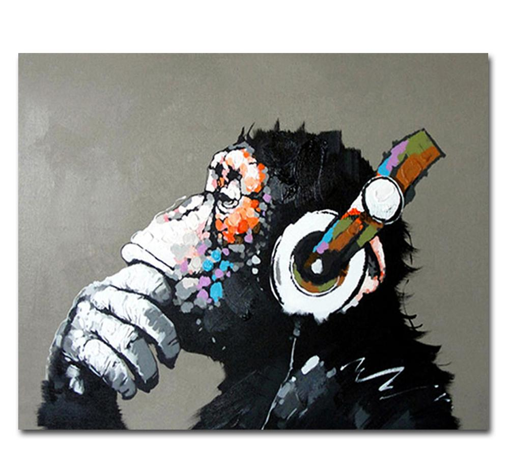 - Cool Hand Painted Monkey Canvas Oil Painting