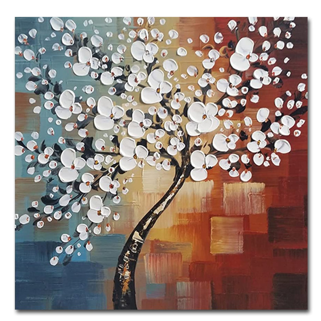 - Gorgeous Hand Painted White flowers Oil painting on Canvas